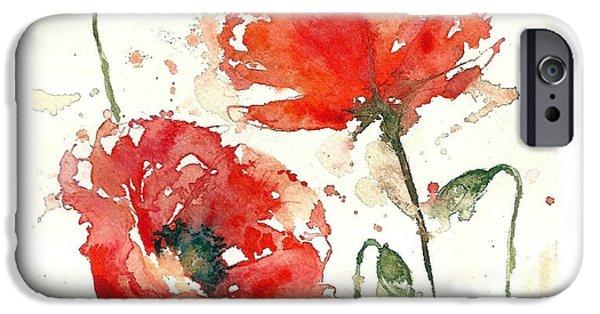 Loose Style Paintings iPhone Cases - Poppies iPhone Case by Deborah Carman