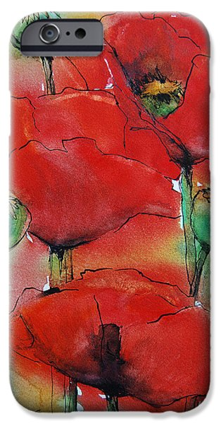 Freimann iPhone Cases - Poppies I iPhone Case by Jani Freimann