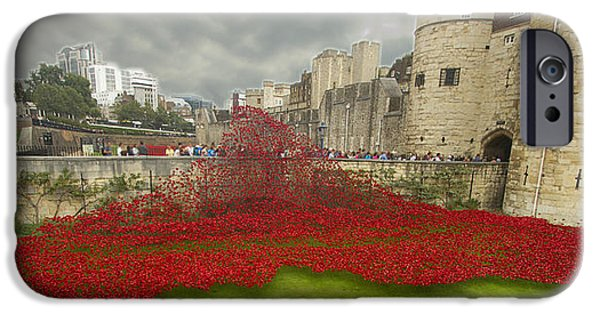 Ww1 iPhone Cases - Poppies Tower of London collage iPhone Case by David French