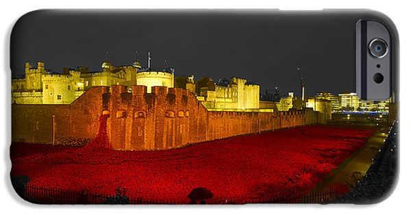 Chatham iPhone Cases - Poppies Tower of London night   iPhone Case by David French