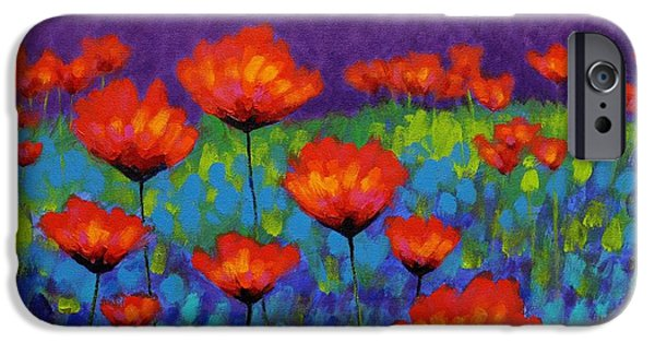 Varnish iPhone Cases - Poppy Meadow iPhone Case by John  Nolan