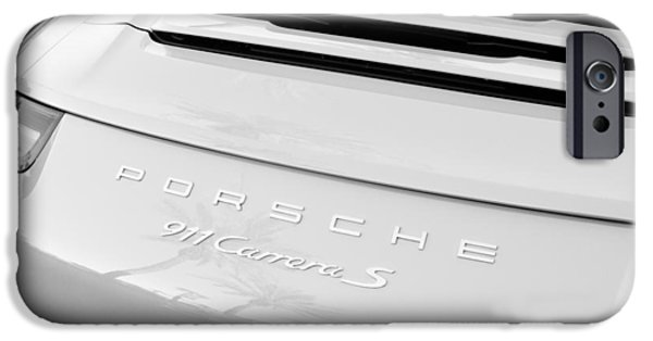 Sports Cars Images iPhone Cases - Porsche 911 Carrera S Rear Emblem iPhone Case by Jill Reger