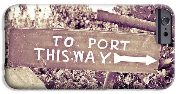 Arrow iPhone Cases - Port sign iPhone Case by Tom Gowanlock