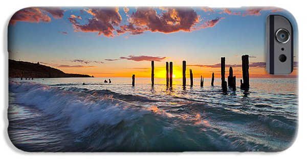 Ruin Photographs iPhone Cases - Port Willunga Sunset iPhone Case by Bill  Robinson