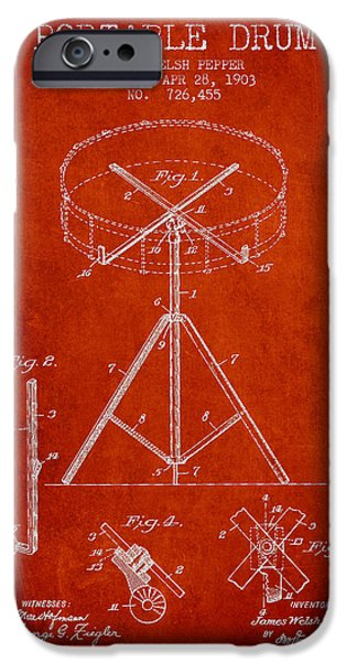 Drummer iPhone Cases - Portable Drum patent Drawing from 1903 - Red iPhone Case by Aged Pixel
