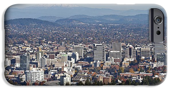 Mount Rose iPhone Cases - Portland Oregon panorama from Pittock Mansion. iPhone Case by Gino Rigucci
