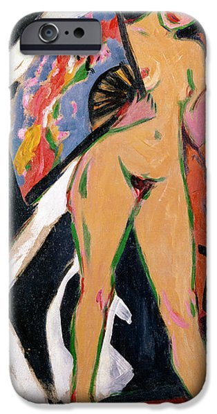 Abstract Expressionist iPhone Cases - Portrait of a Woman iPhone Case by Ernst Ludwig Kirchner