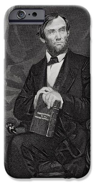 Lincoln iPhone Cases - Portrait of Abraham Lincoln iPhone Case by Alonzo Chappel
