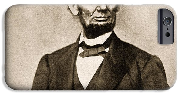 Lincoln iPhone Cases - Portrait of Abraham Lincoln iPhone Case by Mathew Brady