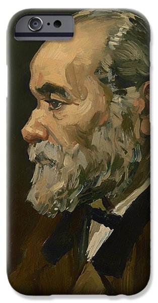 Gray Hair iPhone Cases - Portrait of an Old Man iPhone Case by Vincent van Gogh