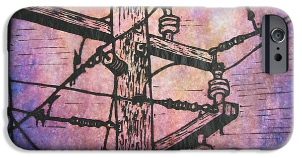 Powerlines Drawings iPhone Cases - Power Lines iPhone Case by William Cauthern
