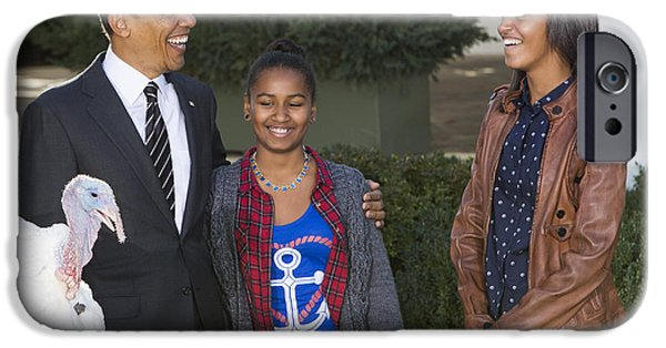 Barack Obama iPhone Cases - President Obama and Daughters iPhone Case by JP Tripp