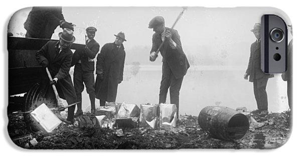 Fed iPhone Cases - Prohibition Feds Destroy Liquor  1923 iPhone Case by Daniel Hagerman