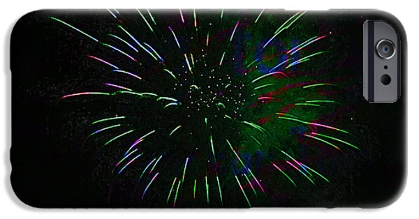 Pyrotechnics iPhone Cases - Psychedelic Fireworks iPhone Case by John Stephens