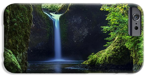 Fall Scenes iPhone Cases - Punchbowl Falls iPhone Case by Brian Jannsen