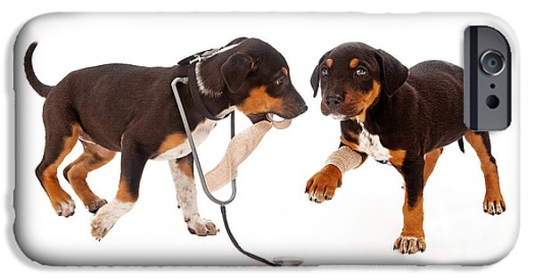 Puppies iPhone Cases - Puppy Veterinarian and Patient iPhone Case by Susan  Schmitz