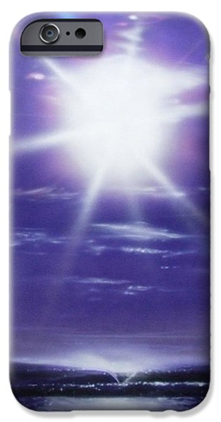 Rays Paintings iPhone Cases - Purple Aura iPhone Case by Christian Chapman Art