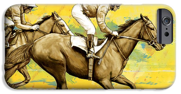 Racing Mixed Media iPhone Cases - Racing Horse Stylised Pop Art Drawing Potrait Poser iPhone Case by Kim Wang