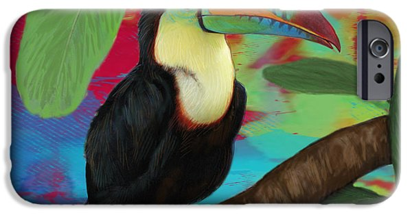 Charcoal Mixed Media iPhone Cases - Rainforest Bird - Keel Billed Toucan Stylised Pop Art Drawing Potrait Poser iPhone Case by Kim Wang