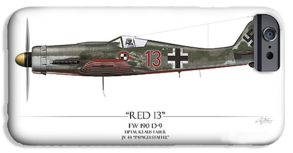 Nose Digital Art iPhone Cases - Red 13 Focke-Wulf FW 190D - White Background iPhone Case by Craig Tinder