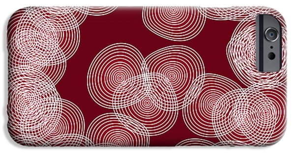 Contemporary Art Drawings iPhone Cases - Red Abstract Circles iPhone Case by Frank Tschakert