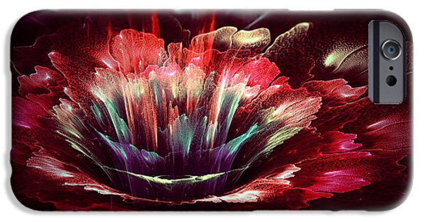 Floral Digital Art Digital Art Digital Art iPhone Cases - Red fractal flower iPhone Case by Martin Capek