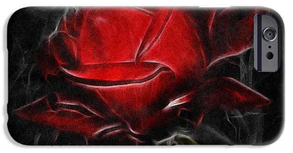 Macro Mixed Media iPhone Cases - Red Hot iPhone Case by Georgiana Romanovna
