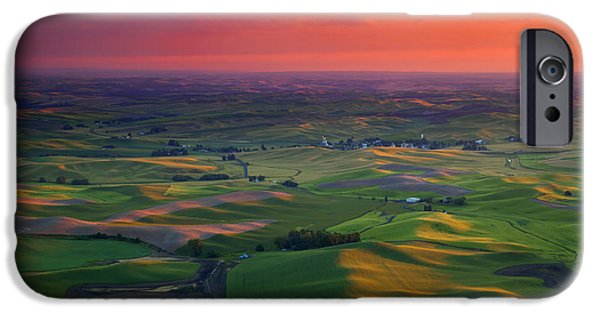 Crops iPhone Cases - Red Skies over the Palouse iPhone Case by Mike  Dawson