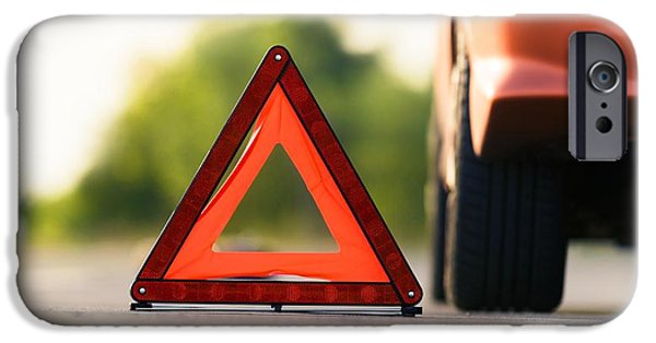 Safety Pyrography iPhone Cases - Red triangle of a car iPhone Case by Oliver Sved