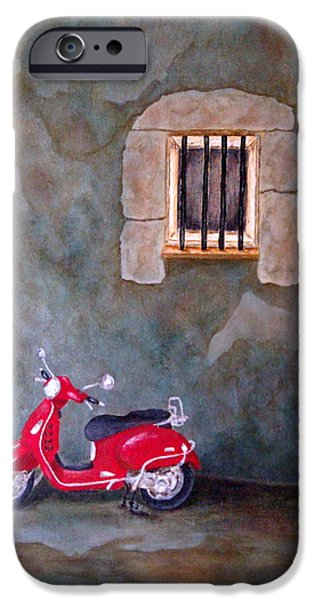 Prison Paintings iPhone Cases - Red Vespa iPhone Case by Pamela Allegretto
