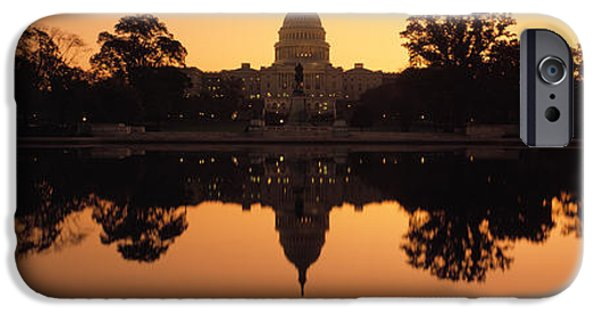 Capitol Hill iPhone Cases - Reflection Of A Government Building iPhone Case by Panoramic Images