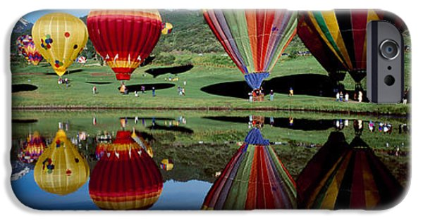 Hot Air Balloon iPhone Cases - Reflection Of Hot Air Balloons iPhone Case by Panoramic Images