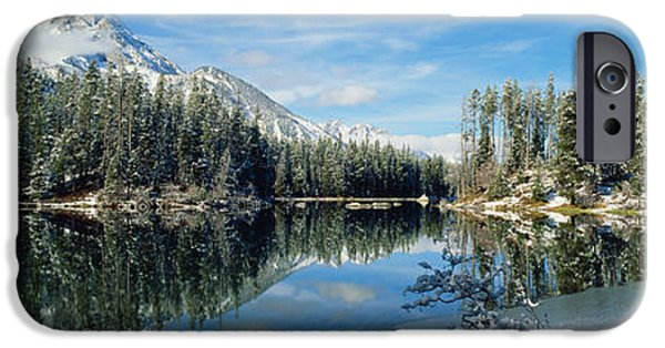 Yellowstone National Park iPhone Cases - Reflection Of Trees In A Lake iPhone Case by Panoramic Images