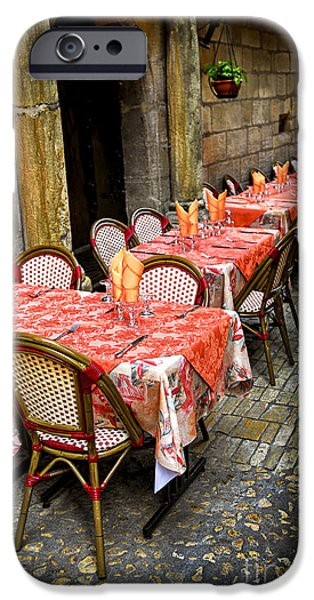 Furniture iPhone Cases - Restaurant patio in France iPhone Case by Elena Elisseeva