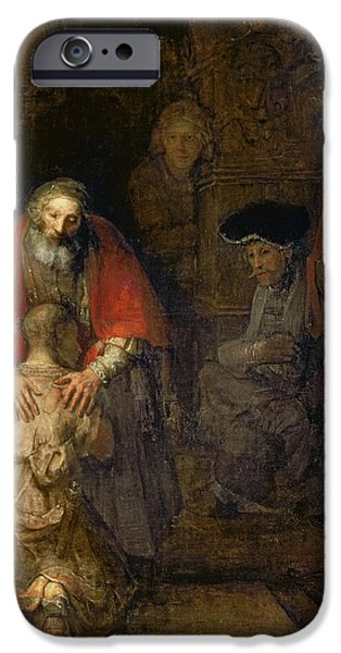 Rembrandt Drawings iPhone Cases - Return Of The Prodigal Son iPhone Case by Rembrandt Van Rijn