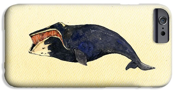 Whale Digital iPhone Cases - Right whale iPhone Case by Juan  Bosco