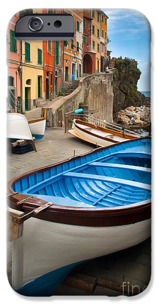 Boat iPhone Cases - Rio Maggiore Boat iPhone Case by Inge Johnsson