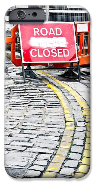 Arrow iPhone Cases - Road closed iPhone Case by Tom Gowanlock