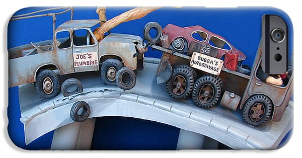 Fun Sculptures iPhone Cases - Road Rage iPhone Case by Stuart Swartz