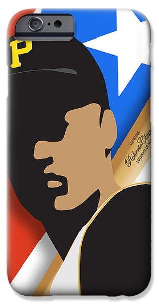 Roberto iPhone Cases - Roberto Clemente iPhone Case by Ron Regalado