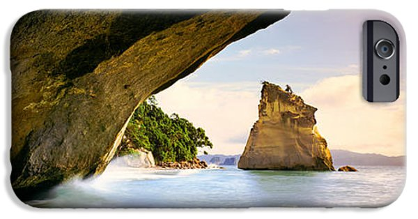 Cathedral Rock iPhone Cases - Rock Formations In The Pacific Ocean iPhone Case by Panoramic Images