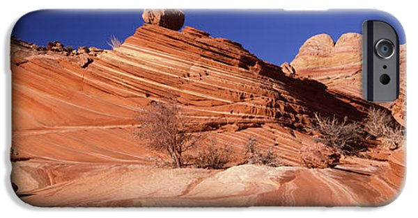 Red Rock iPhone Cases - Rock Formations On An Arid Landscape iPhone Case by Panoramic Images