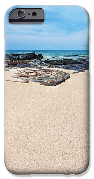 Outdoors Pastels iPhone Cases - Rock Sand Sea And Sky iPhone Case by Atiketta Sangasaeng