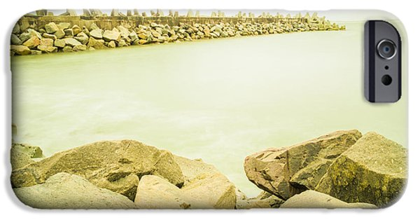 Meadow Photographs iPhone Cases - Rock seashore close to Cape Town iPhone Case by John-james Gerber