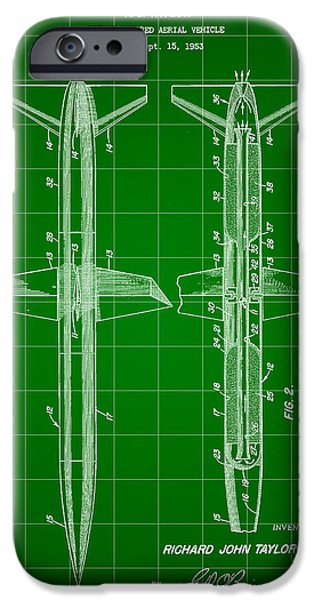 Jet-propelled iPhone Cases - Rocket Patent 1953 - Green iPhone Case by Stephen Younts