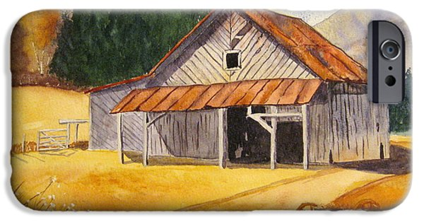 Barn Landscape Pastels iPhone Cases - Rocky Waters iPhone Case by Julia Rietz