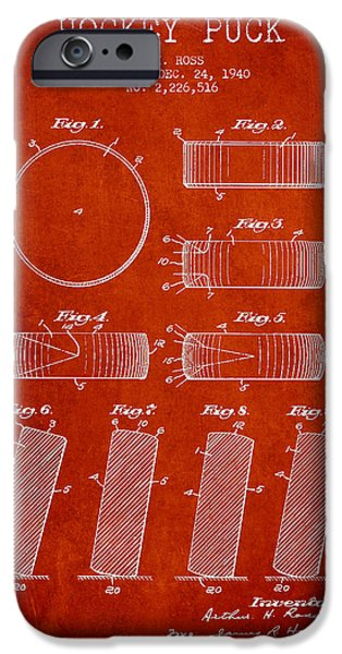 Hockey Art iPhone Cases - Roll Prevention Hockey Puck Patent Drawing From 1940 iPhone Case by Aged Pixel
