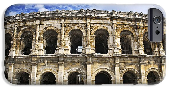Facade iPhone Cases - Roman arena in Nimes France iPhone Case by Elena Elisseeva