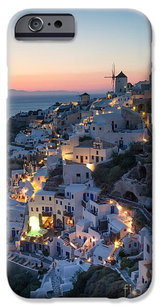Recently Sold -  - Village iPhone Cases - Romantic sunset over the village of Oia Greece Santorini iPhone Case by Matteo Colombo