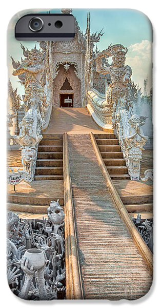 Buddhism Digital iPhone Cases - Rong Khun Temple iPhone Case by Adrian Evans